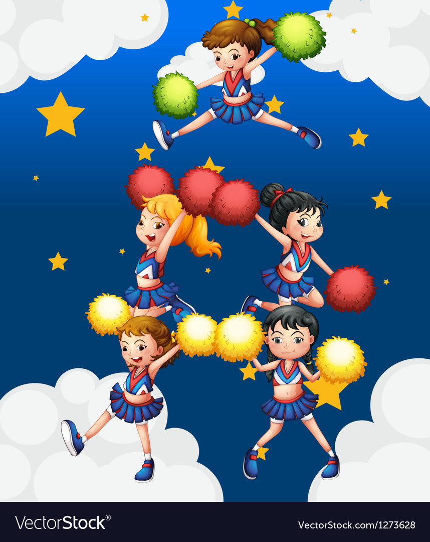 Five cheerdancers dancing with their pompoms vector | Price: 1 Credit (USD $1)