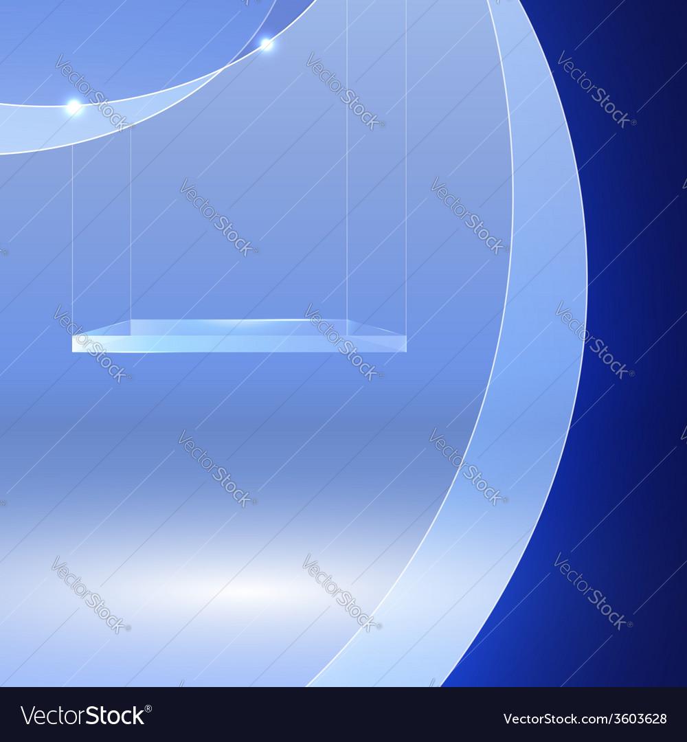 Glass shelf on blue wavy background vector | Price: 1 Credit (USD $1)