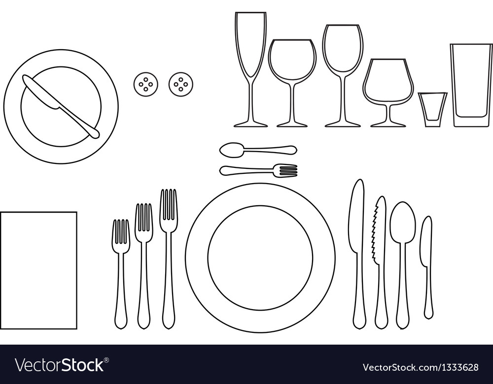 Outline silhouette of tableware vector | Price: 1 Credit (USD $1)