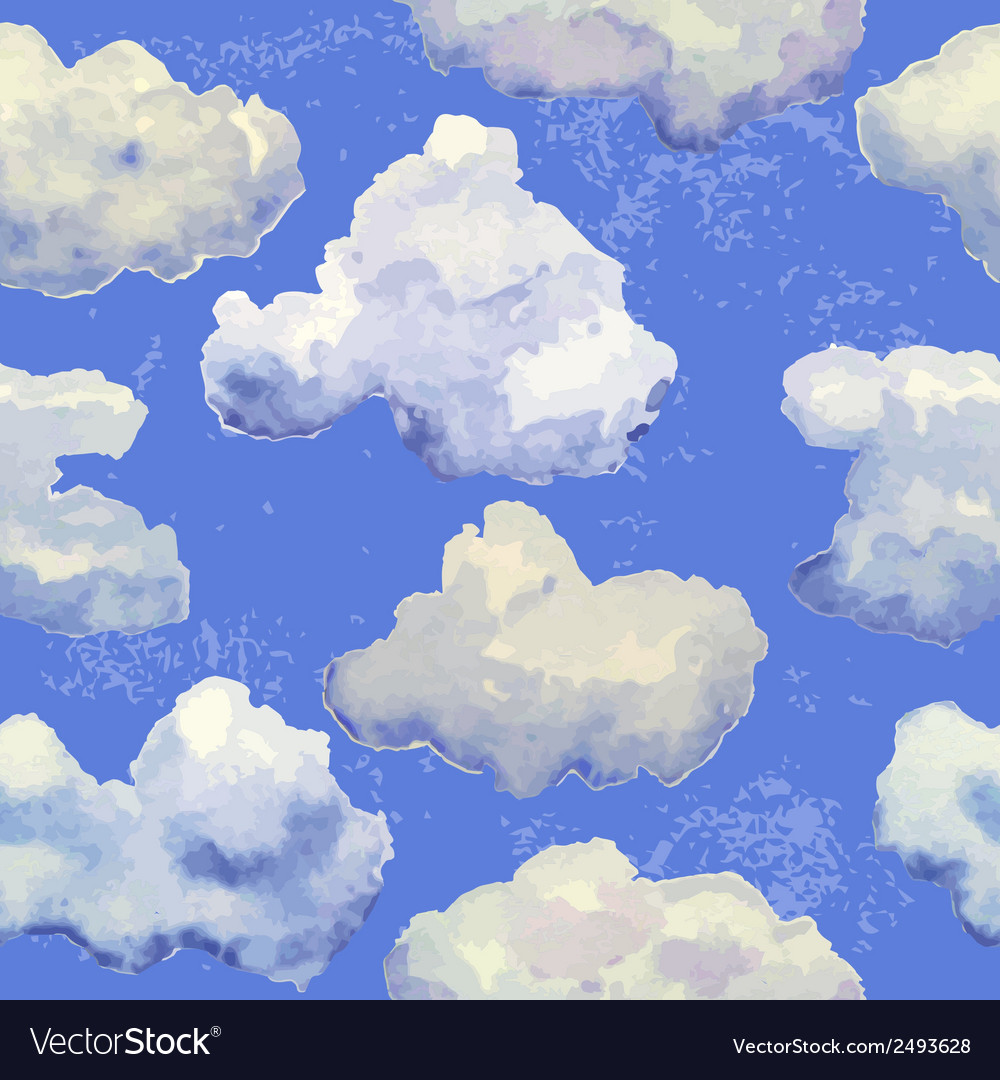 Seamless pattern with watercolor blue clouds vector | Price: 1 Credit (USD $1)