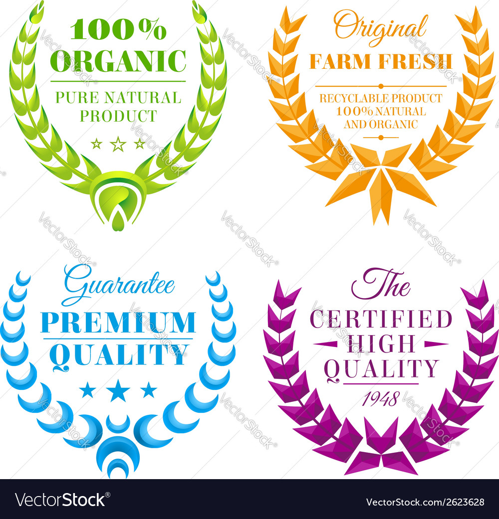 Set of color wreath labels vector | Price: 1 Credit (USD $1)