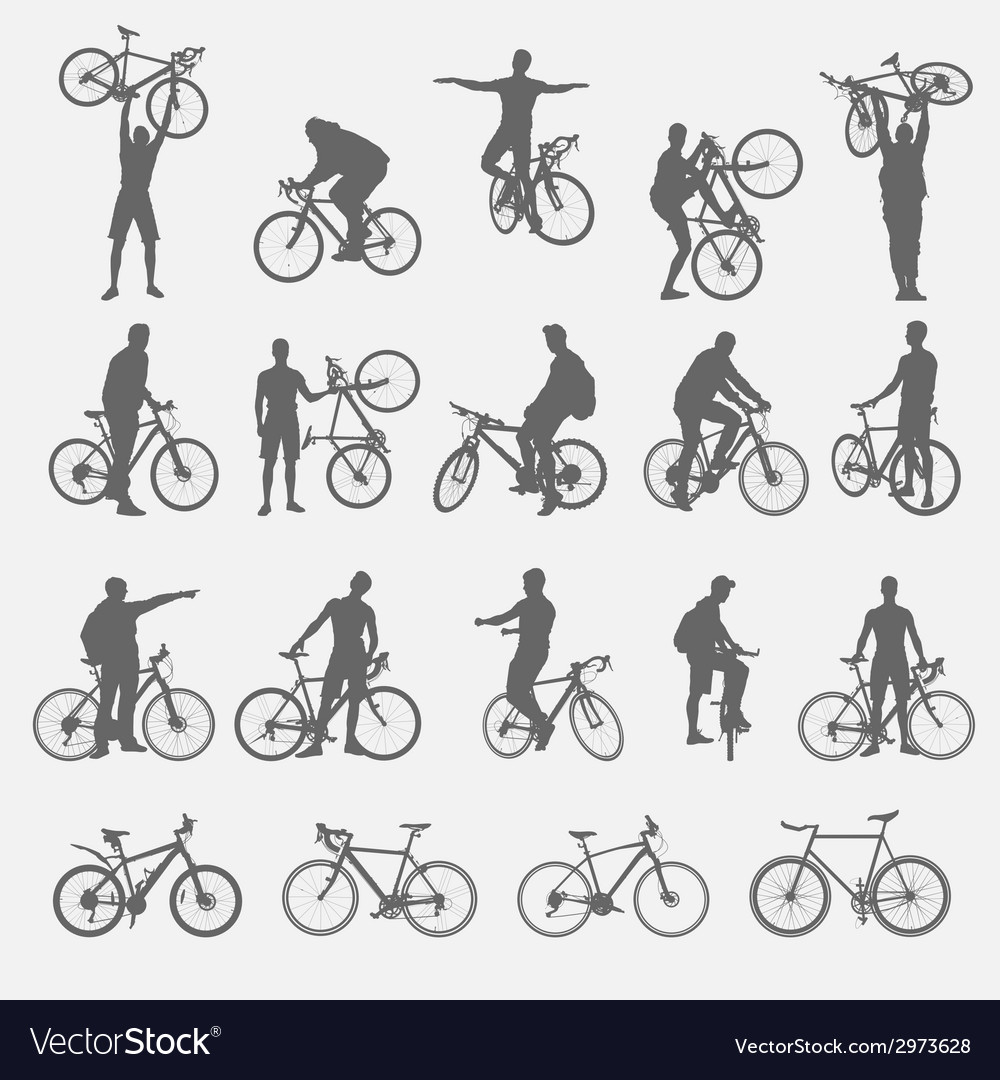 Silhouettes of cyclists and bicycles vector | Price: 1 Credit (USD $1)