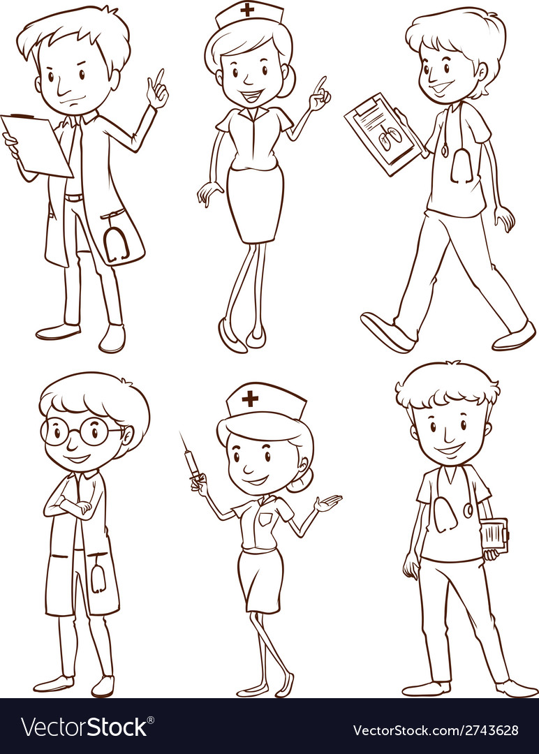 Simple sketches of doctors vector | Price: 1 Credit (USD $1)