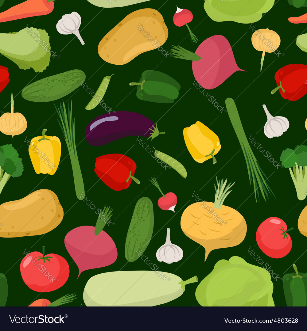 Vegetables seamless pattern background of tomatoes vector