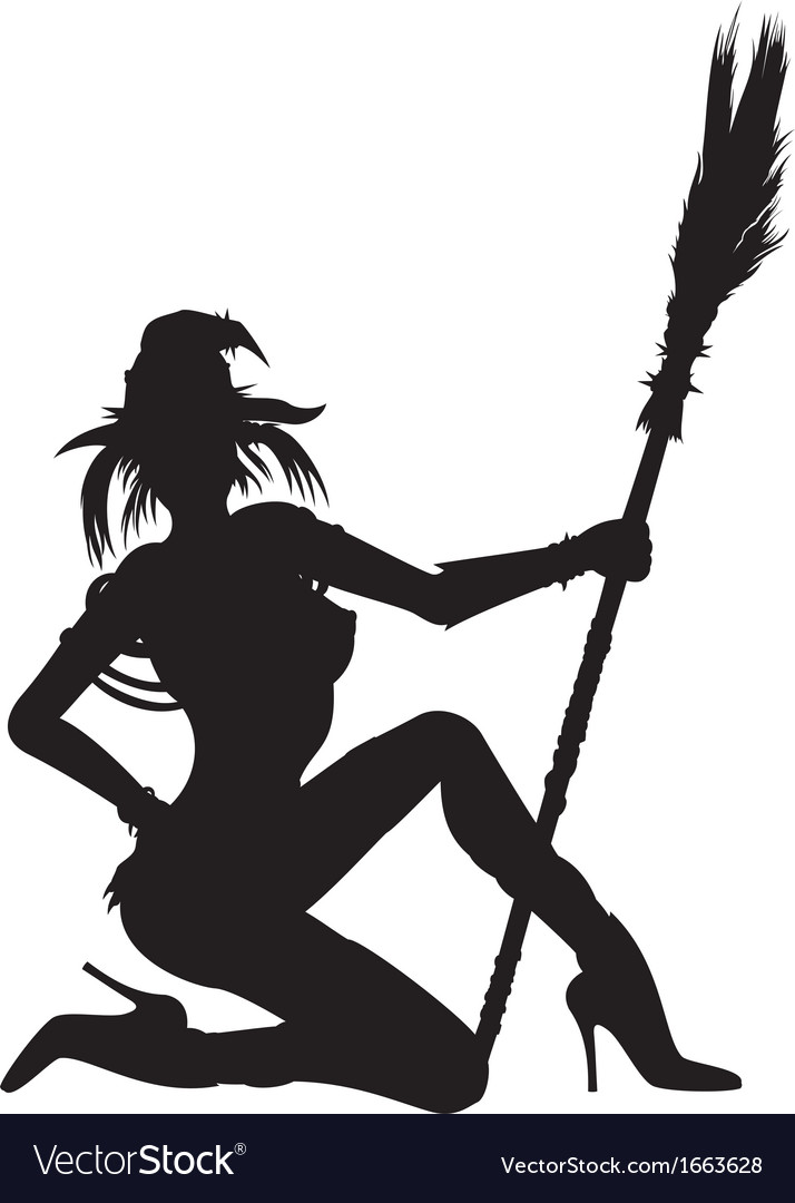 Witch girl striptease silhouette vector | Price: 1 Credit (USD $1)