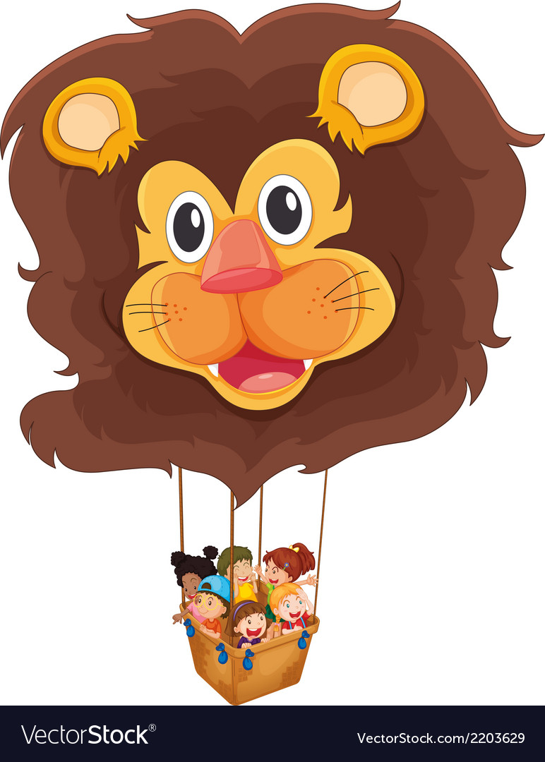 A lion floating balloon with kids vector | Price: 1 Credit (USD $1)