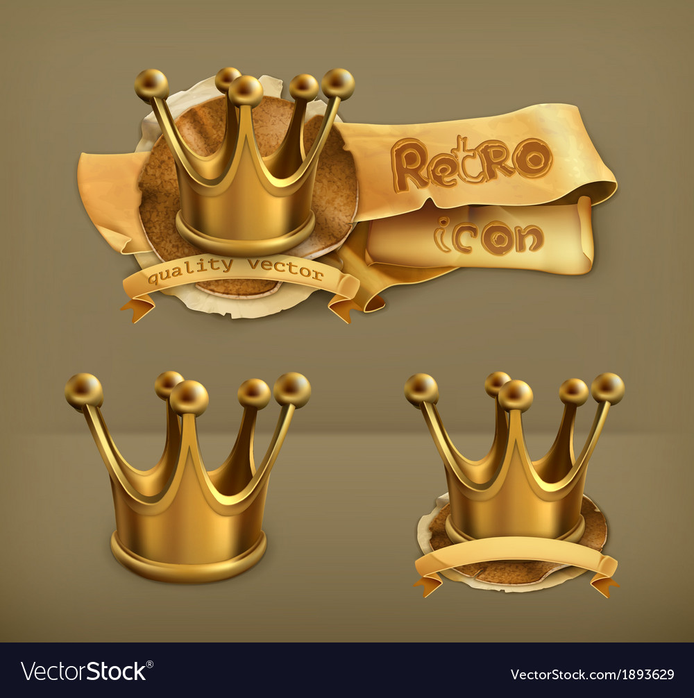 Gold crown icon vector | Price: 1 Credit (USD $1)