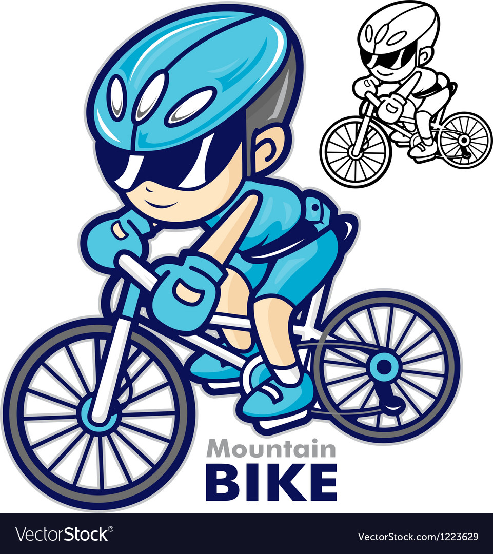 Man mascot riding a mountain bike vector | Price: 3 Credit (USD $3)