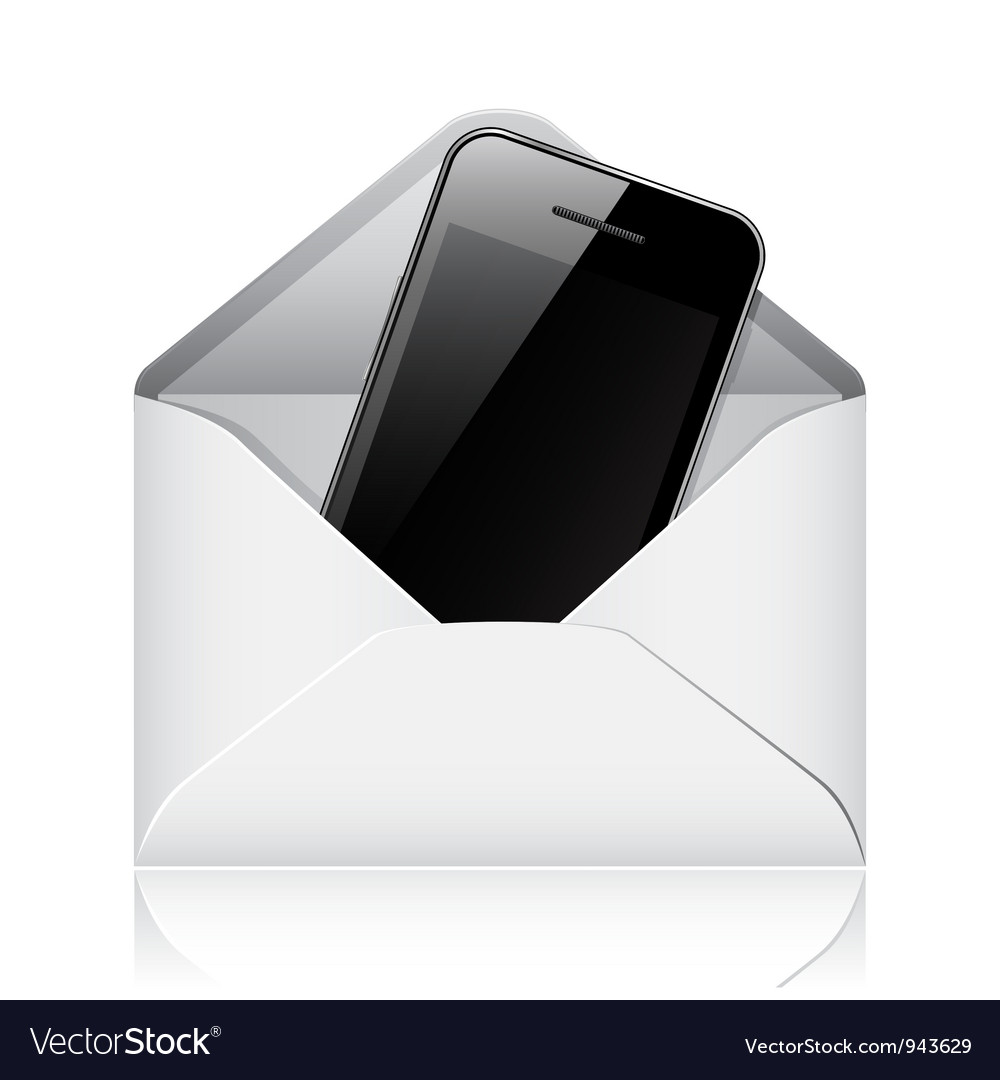 Modern phone in envelope vector | Price: 1 Credit (USD $1)