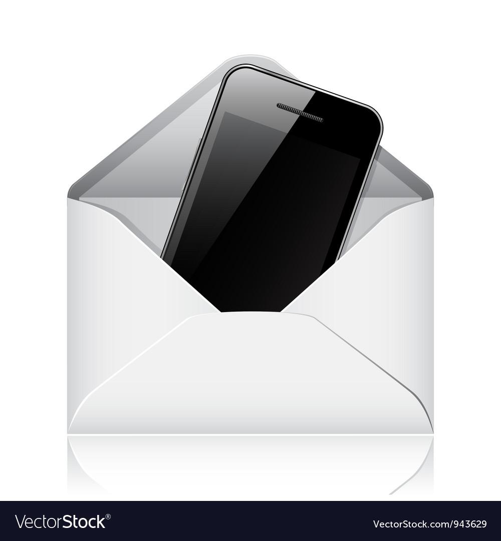 Modern phone in envelope vector | Price: 1 Credit (USD $1)