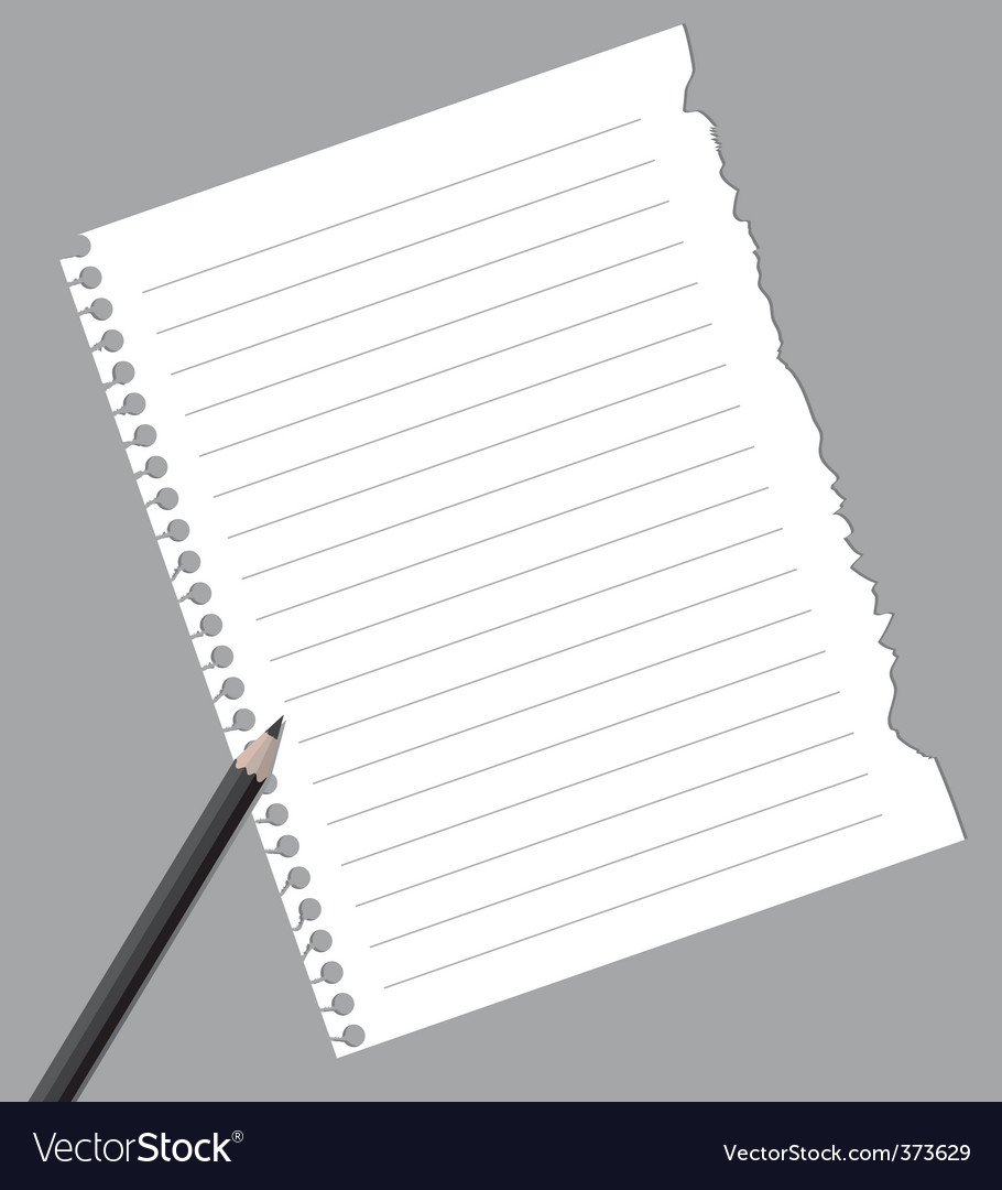 Notebook paper with pencil vector | Price: 1 Credit (USD $1)
