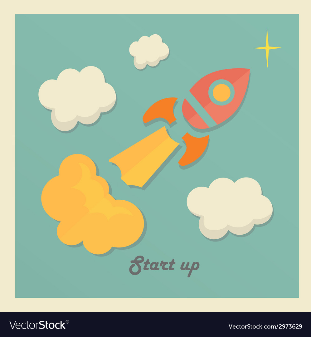 Retro concept with rocket for new business project vector | Price: 1 Credit (USD $1)