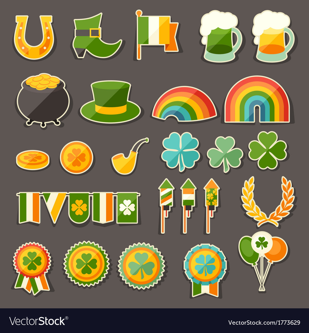 Saint patricks day sticker icons set vector | Price: 1 Credit (USD $1)
