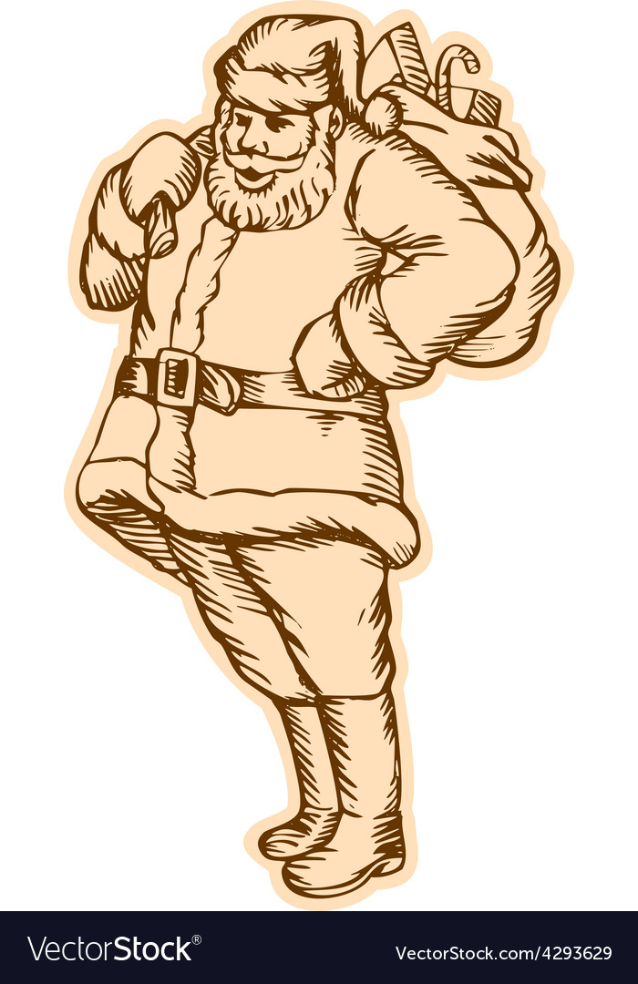 Santa claus father christmas standing etching vector