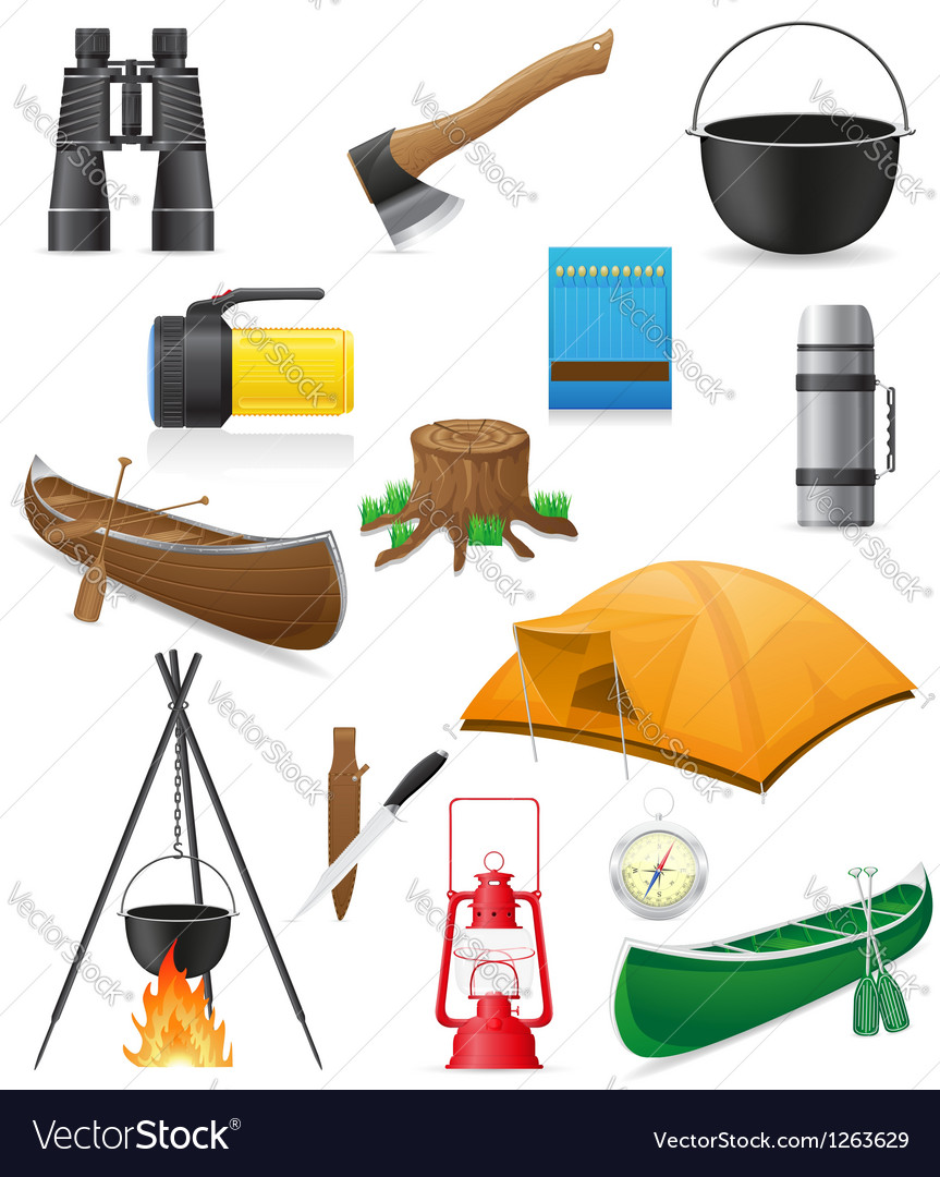 Set icons items for outdoor recreation vector | Price: 3 Credit (USD $3)