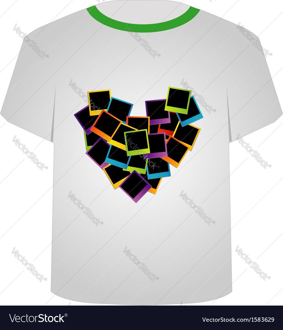 T shirt template- polaroid heart vector | Price: 1 Credit (USD $1)