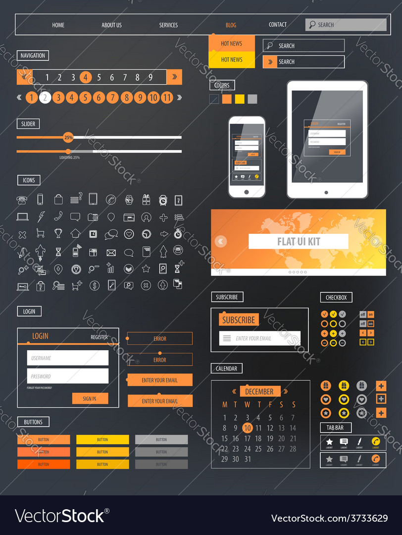 Ui kit responsive web design icons template mockup vector | Price: 1 Credit (USD $1)