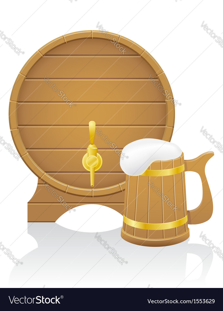 Wooden beer mug and barrel vector | Price: 1 Credit (USD $1)
