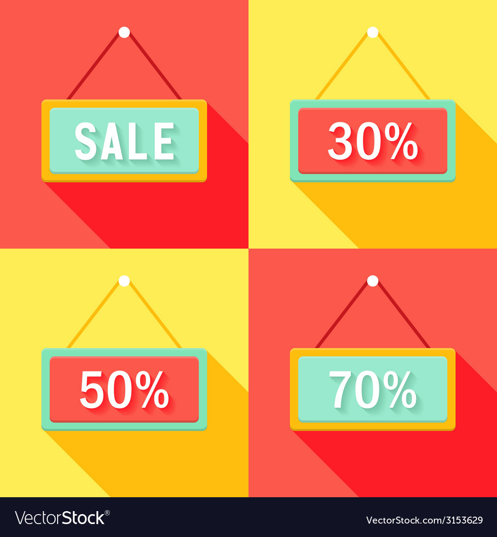 Yellow red cyan sale signs set vector | Price: 1 Credit (USD $1)
