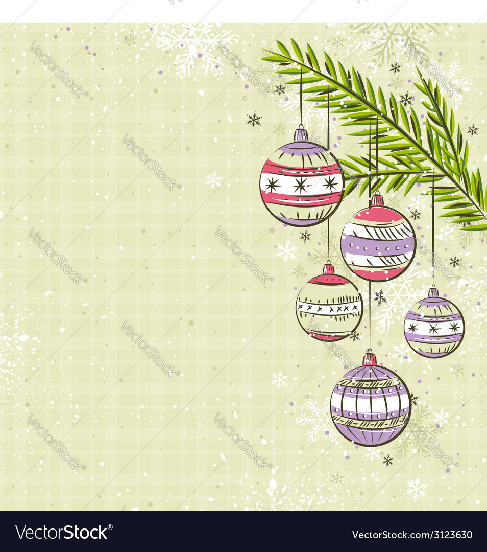 Beige background with color christmas balls vector | Price: 1 Credit (USD $1)