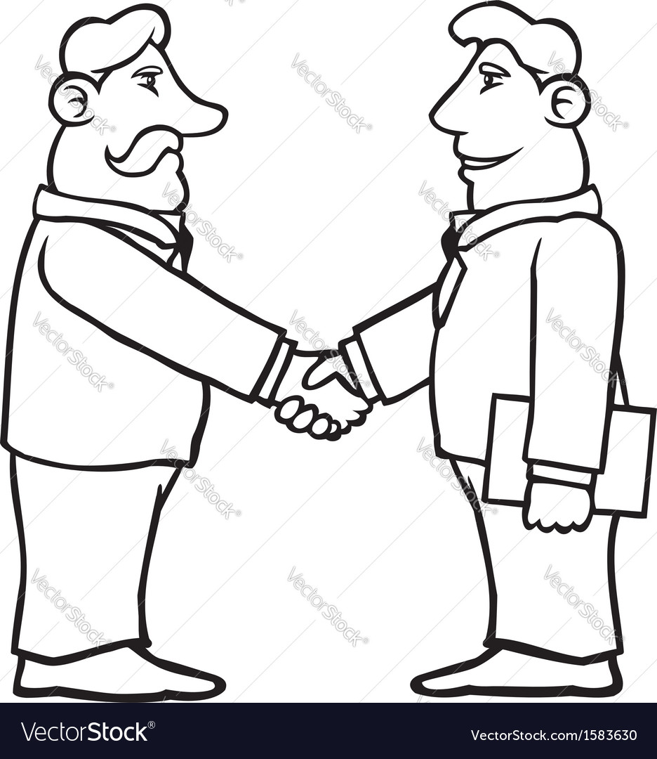 Black and white business men shaking hands vector | Price: 1 Credit (USD $1)