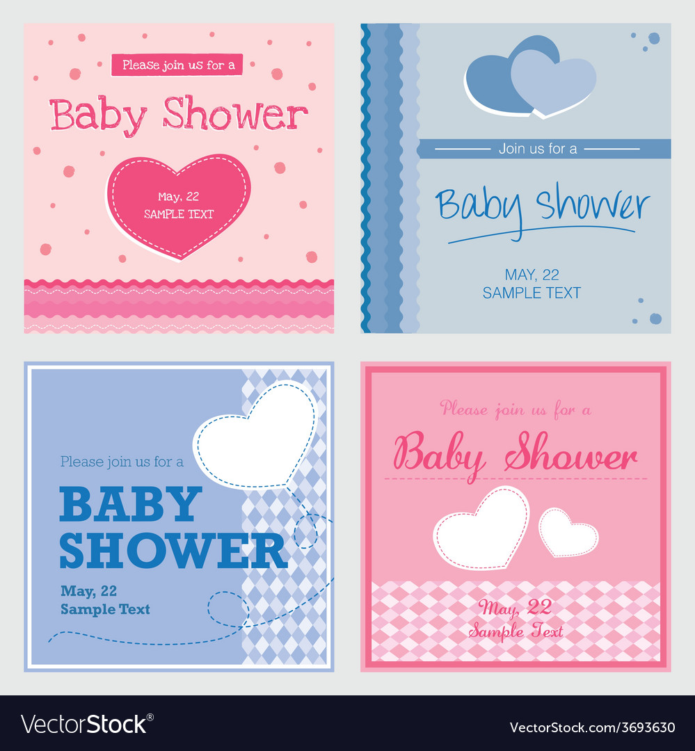 Card baby shower invitation template vector | Price: 1 Credit (USD $1)