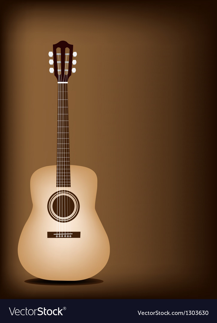 Classical guitar on dark brown background vector | Price: 1 Credit (USD $1)