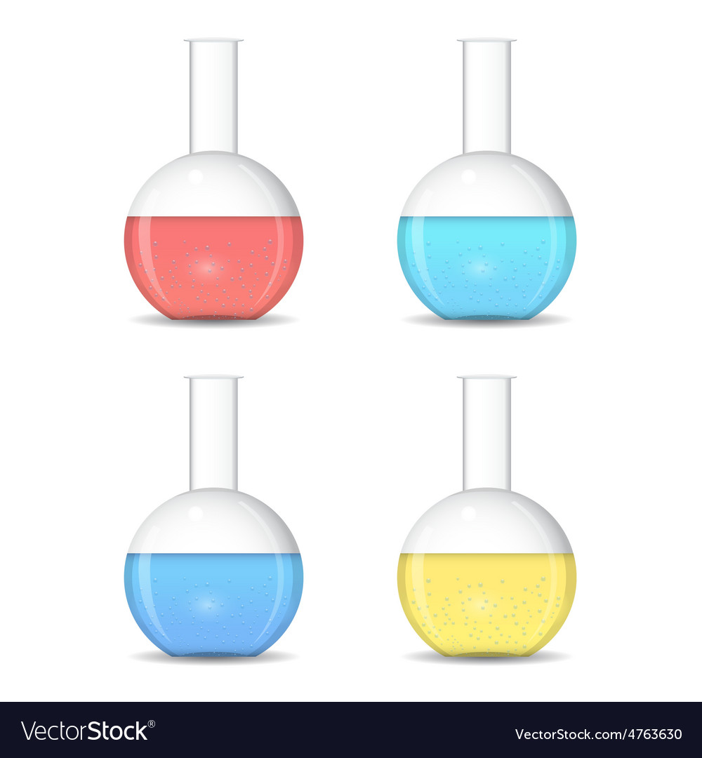 Flat bottom chemical flasks with colored sulutions vector | Price: 1 Credit (USD $1)