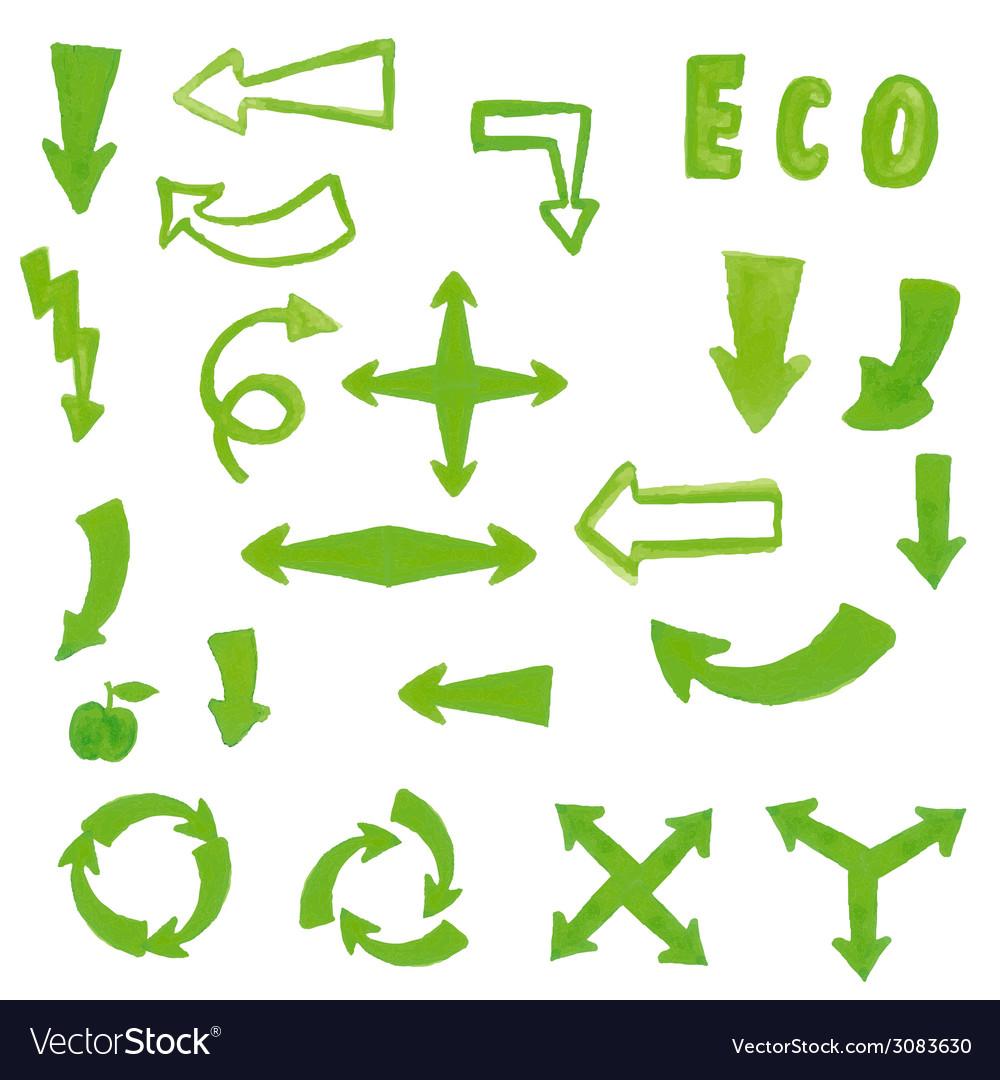 Handpaint watercolor green arrow vector | Price: 1 Credit (USD $1)