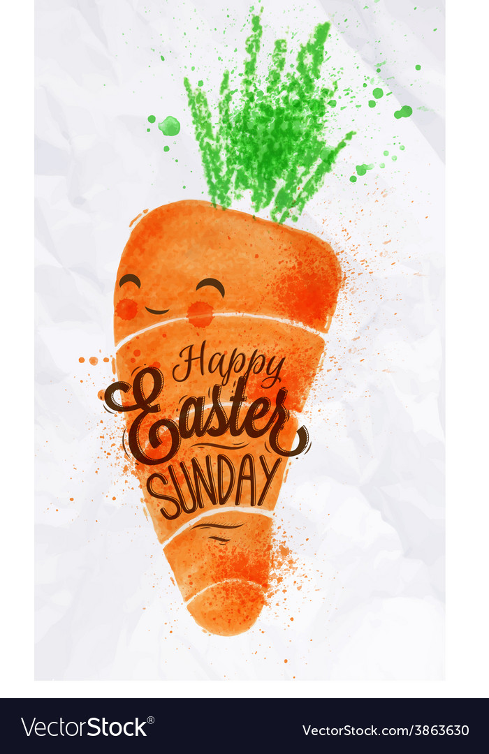 Happy easter carrot poster vector | Price: 1 Credit (USD $1)