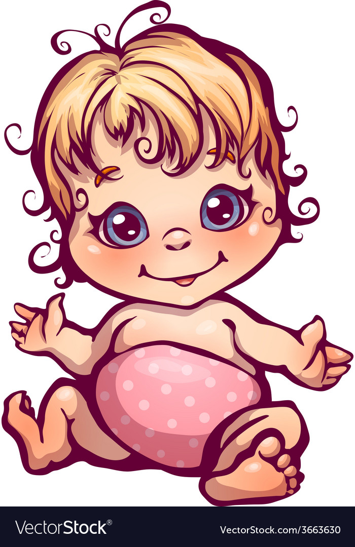 Little baby girl vector | Price: 1 Credit (USD $1)