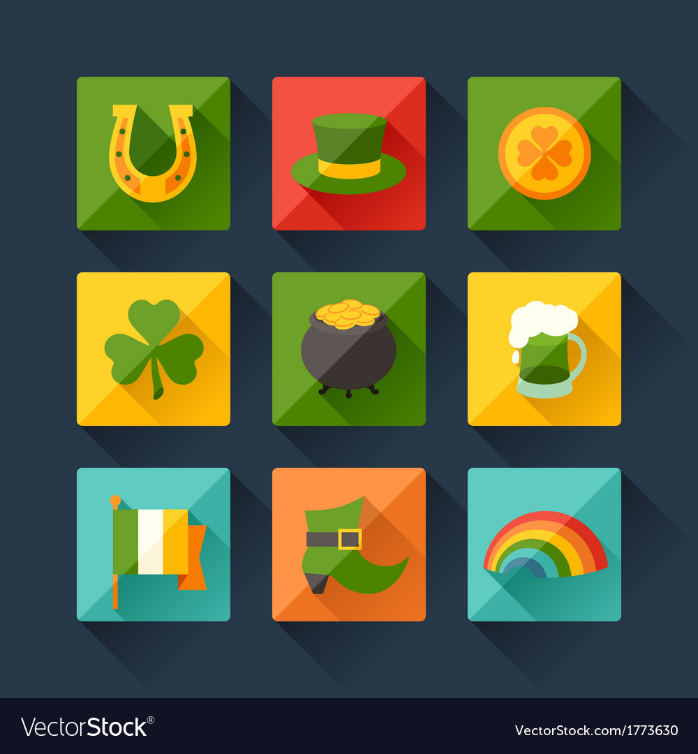 Saint patricks day icons in flat design style vector | Price: 1 Credit (USD $1)
