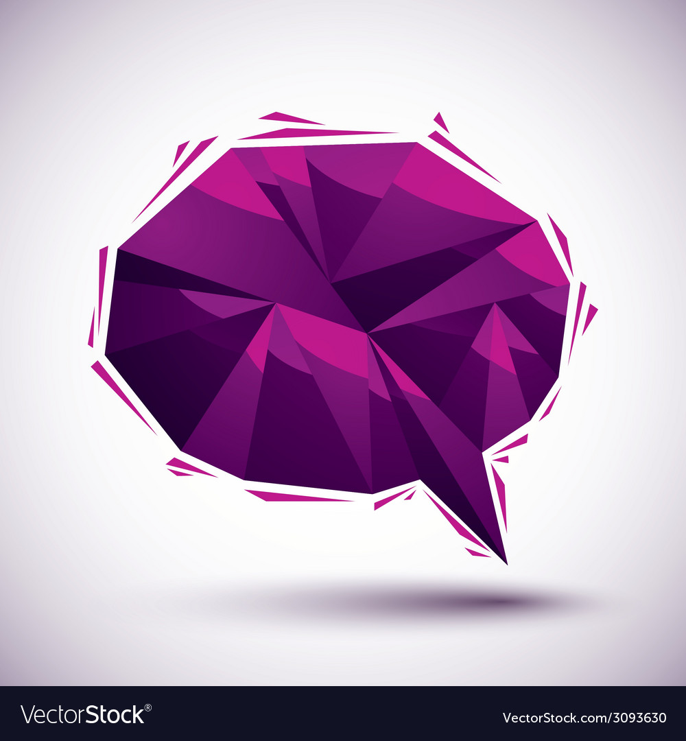 Violet speech bubble geometric icon made in 3d vector | Price: 1 Credit (USD $1)