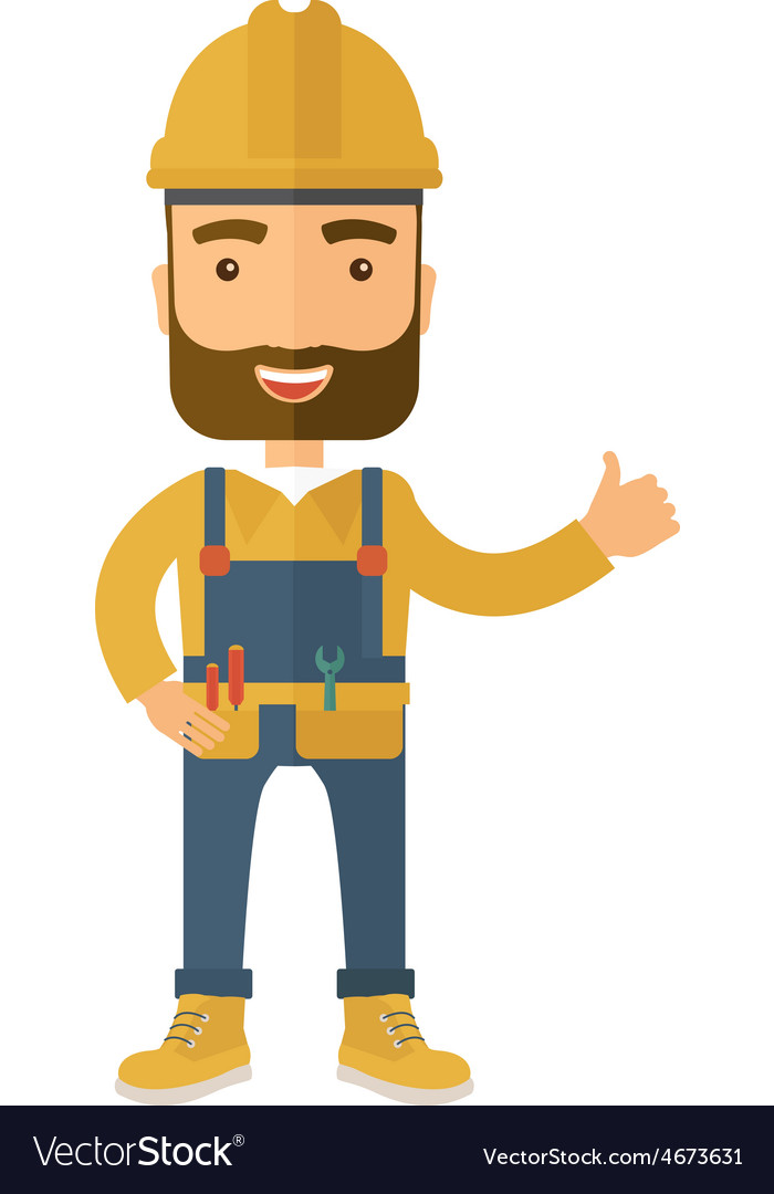 A happy carpenter wearing hard hat vector | Price: 1 Credit (USD $1)