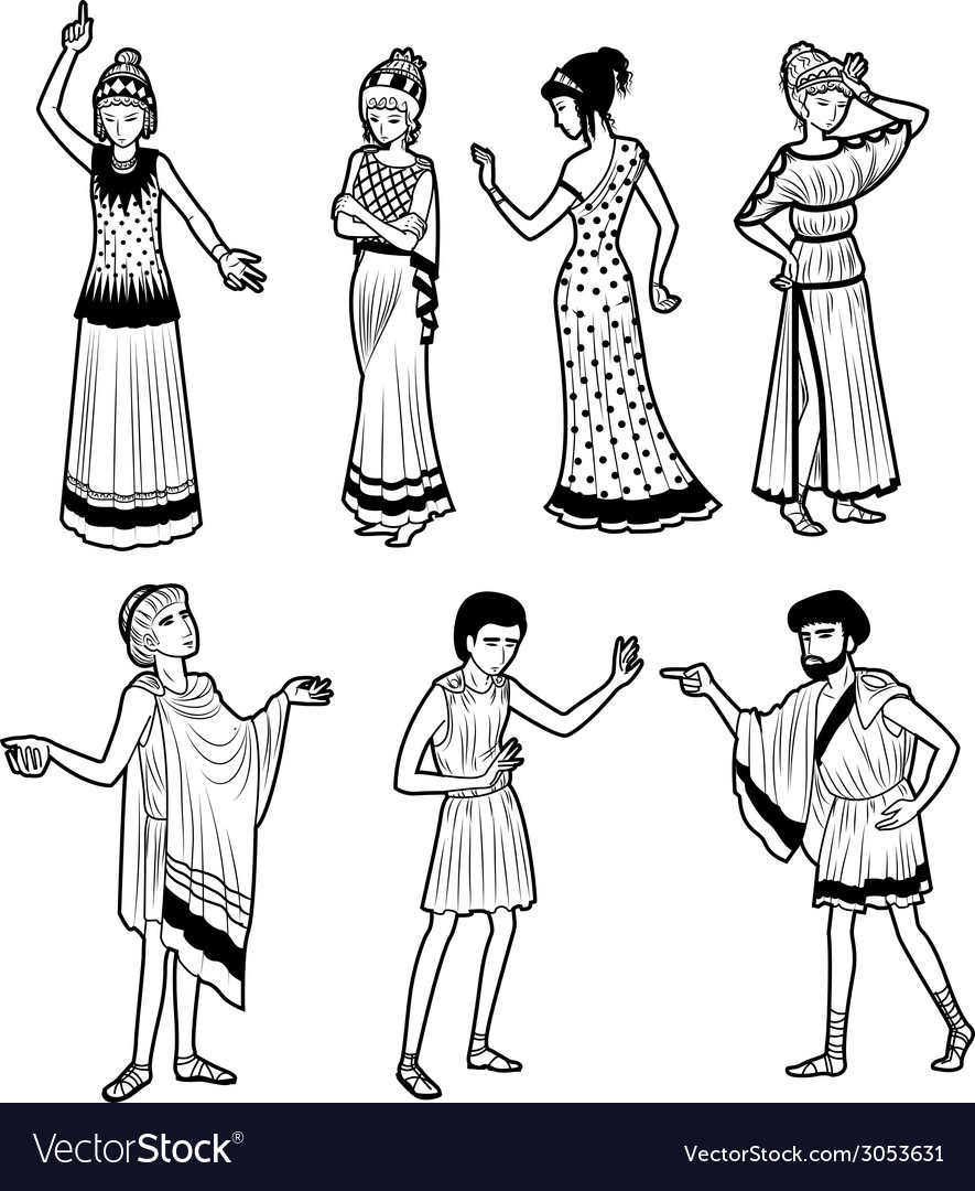 Ancient greek tragedy characters vector | Price: 1 Credit (USD $1)