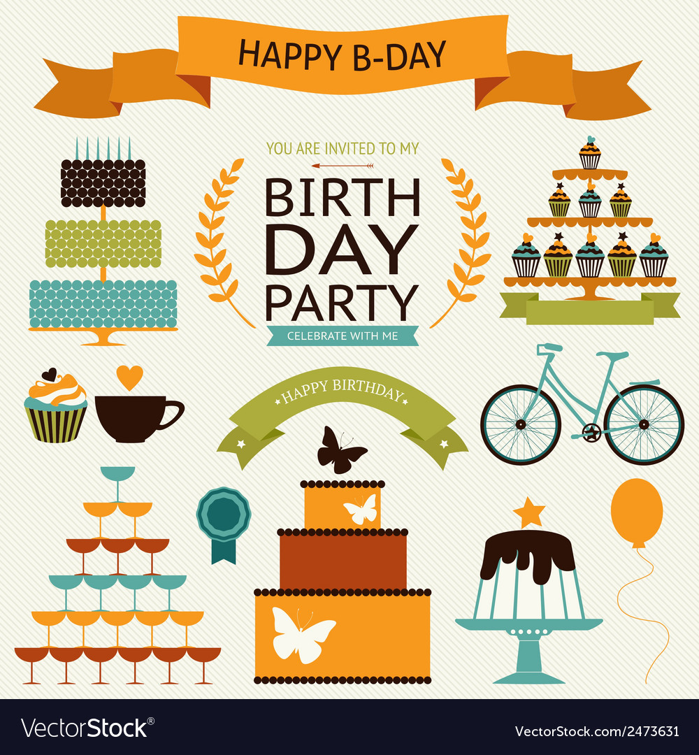Birthday celebration decorative icons vector | Price: 1 Credit (USD $1)