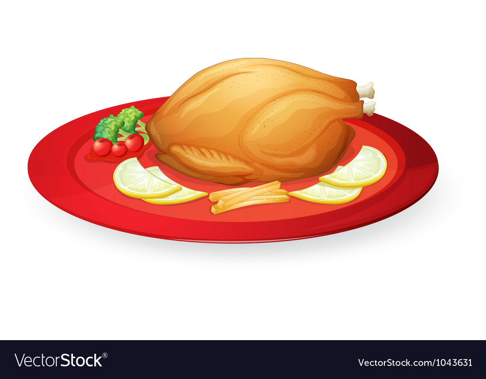 Chicken flesh in a dish vector | Price: 1 Credit (USD $1)