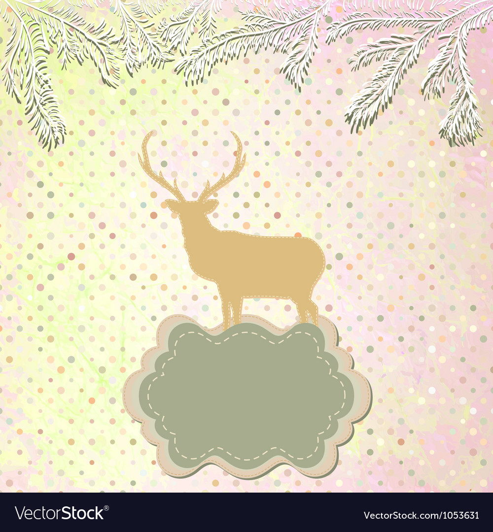 Christmas reindeer card template vector | Price: 1 Credit (USD $1)