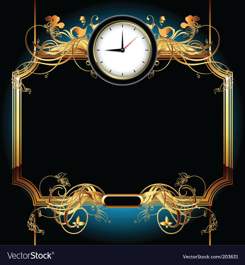Clocks with floral elements vector | Price: 1 Credit (USD $1)