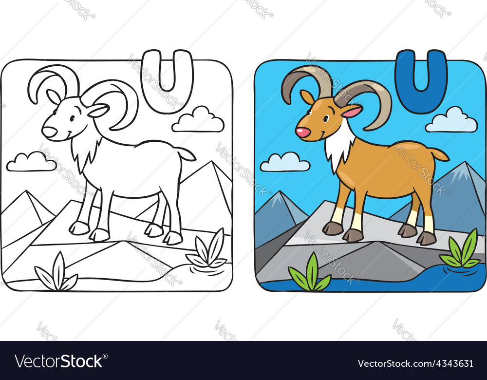 Coloring picture of funny urial alphabet u vector | Price: 1 Credit (USD $1)