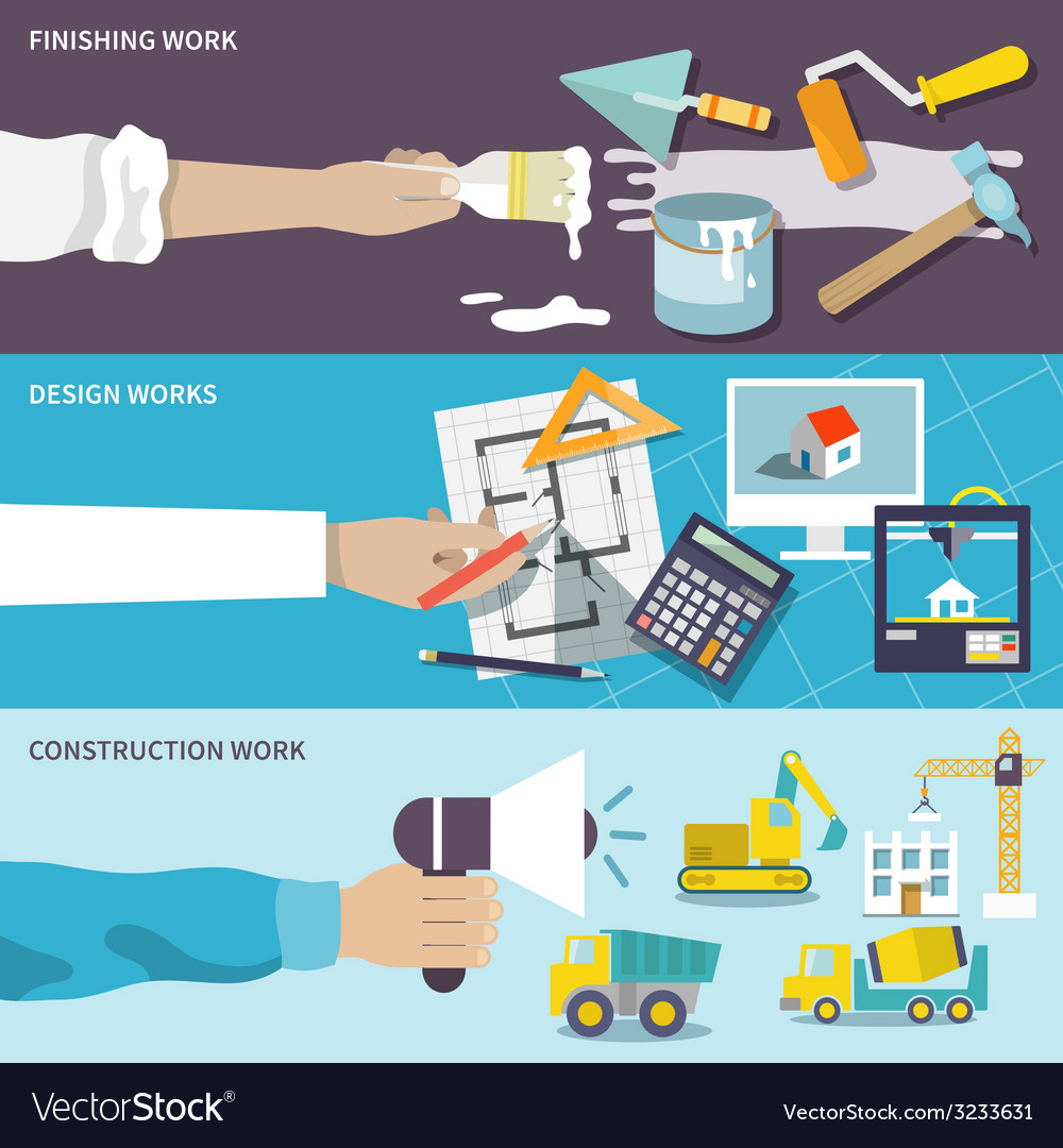 Construction design flat banner set vector | Price: 1 Credit (USD $1)