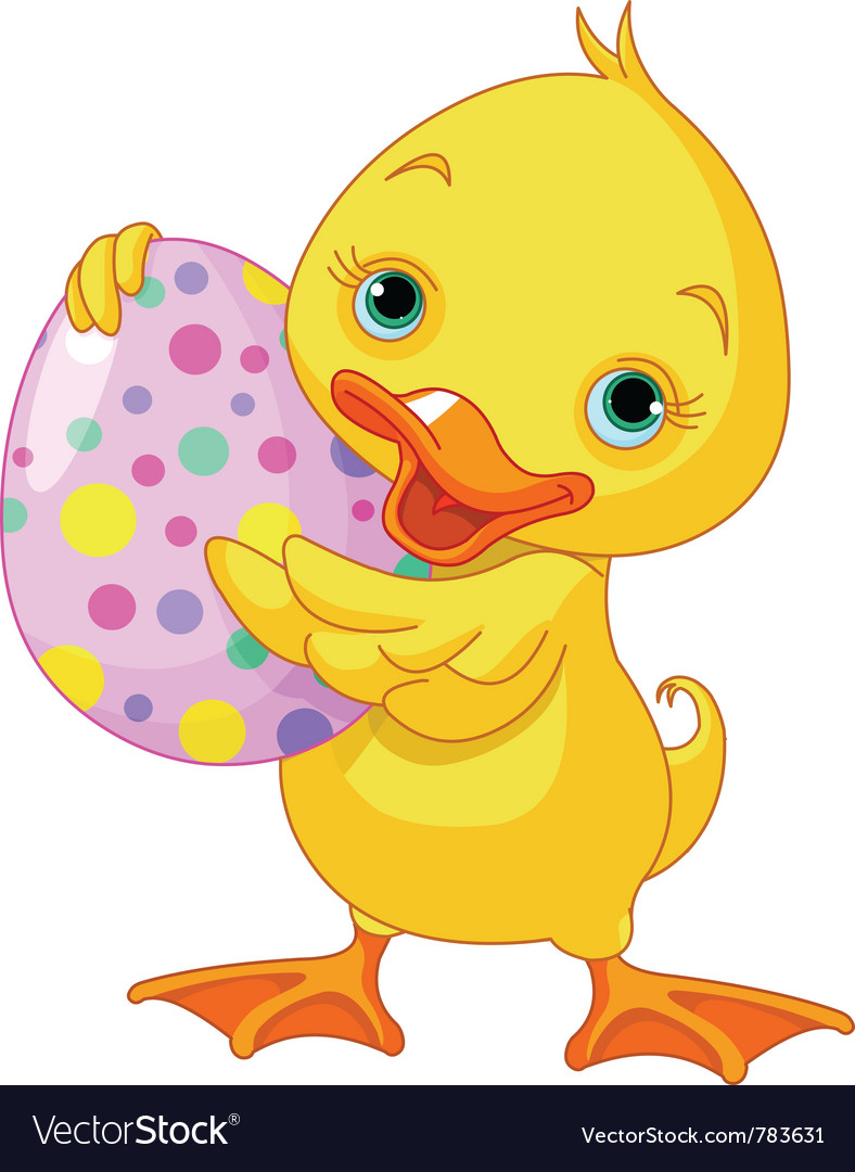 Easter duckling carrying egg vector | Price: 1 Credit (USD $1)