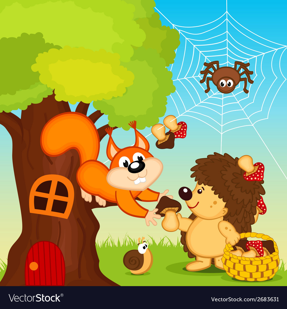 Hedgehog gives squirrel mushroom vector | Price: 1 Credit (USD $1)