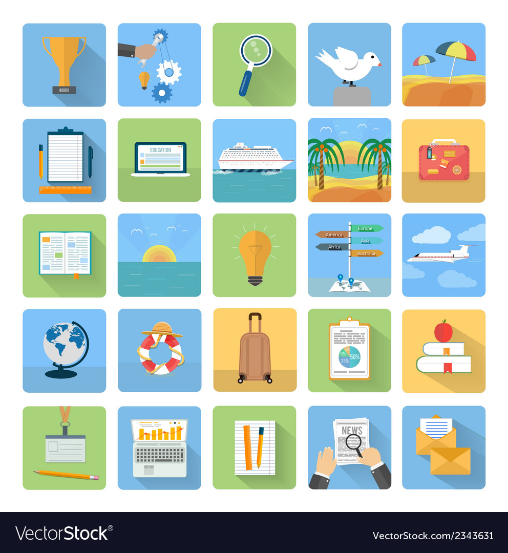 Icons set of traveling and planning a summer vector   Price: 1 Credit (USD $1)