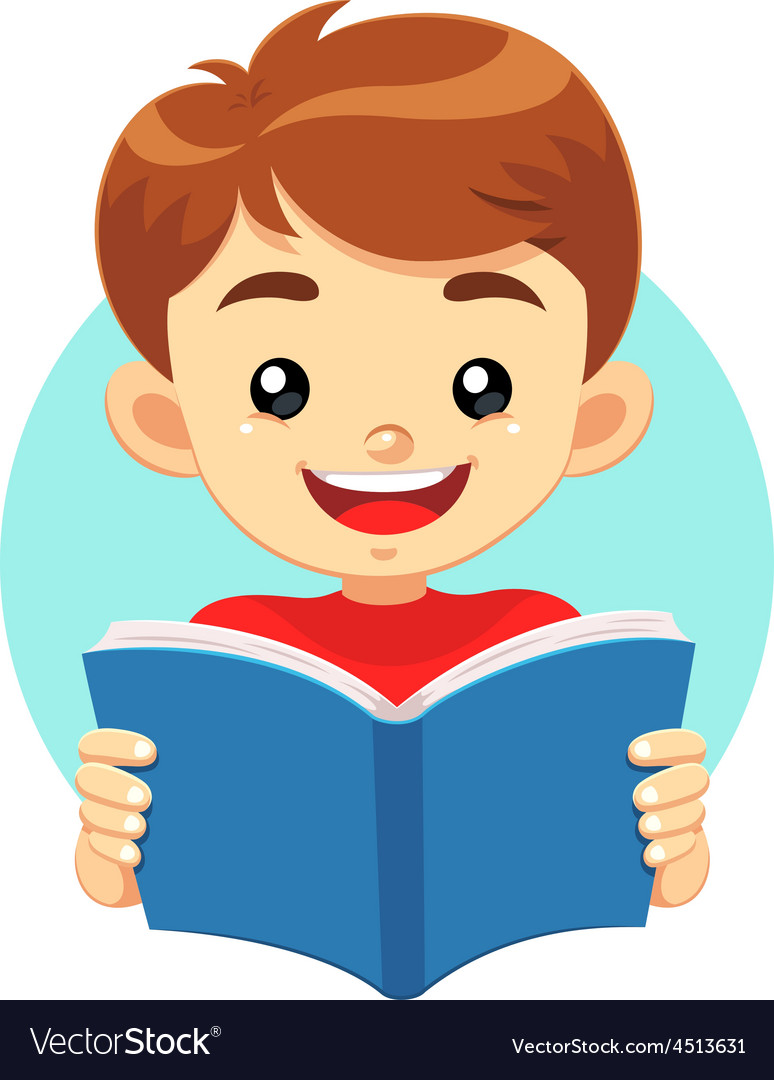 Little boy reading a blue book vector | Price: 1 Credit (USD $1)