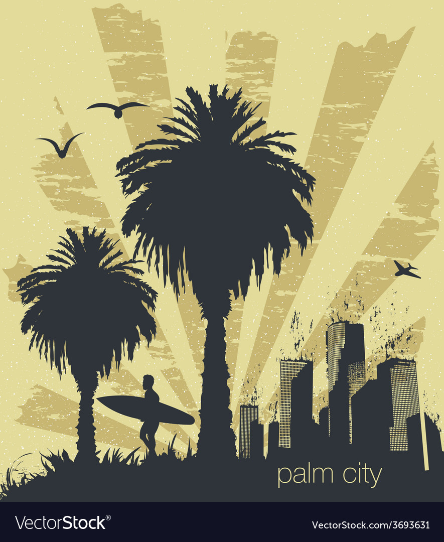 Sunny beach with palm vector | Price: 1 Credit (USD $1)