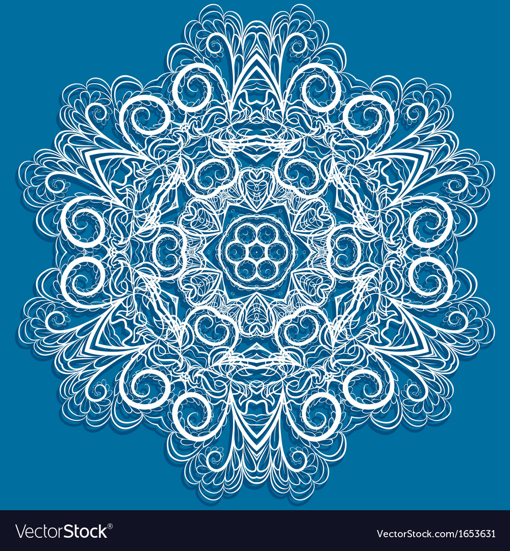 White snowflake on blue vector   Price: 1 Credit (USD $1)