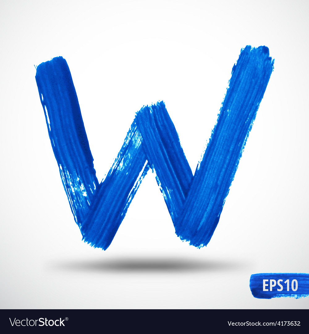Alphabet letter w watercolor alphabet vector | Price: 1 Credit (USD $1)