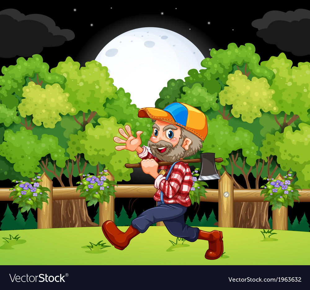 An old lumberjack carrying an axe while walking vector | Price: 3 Credit (USD $3)