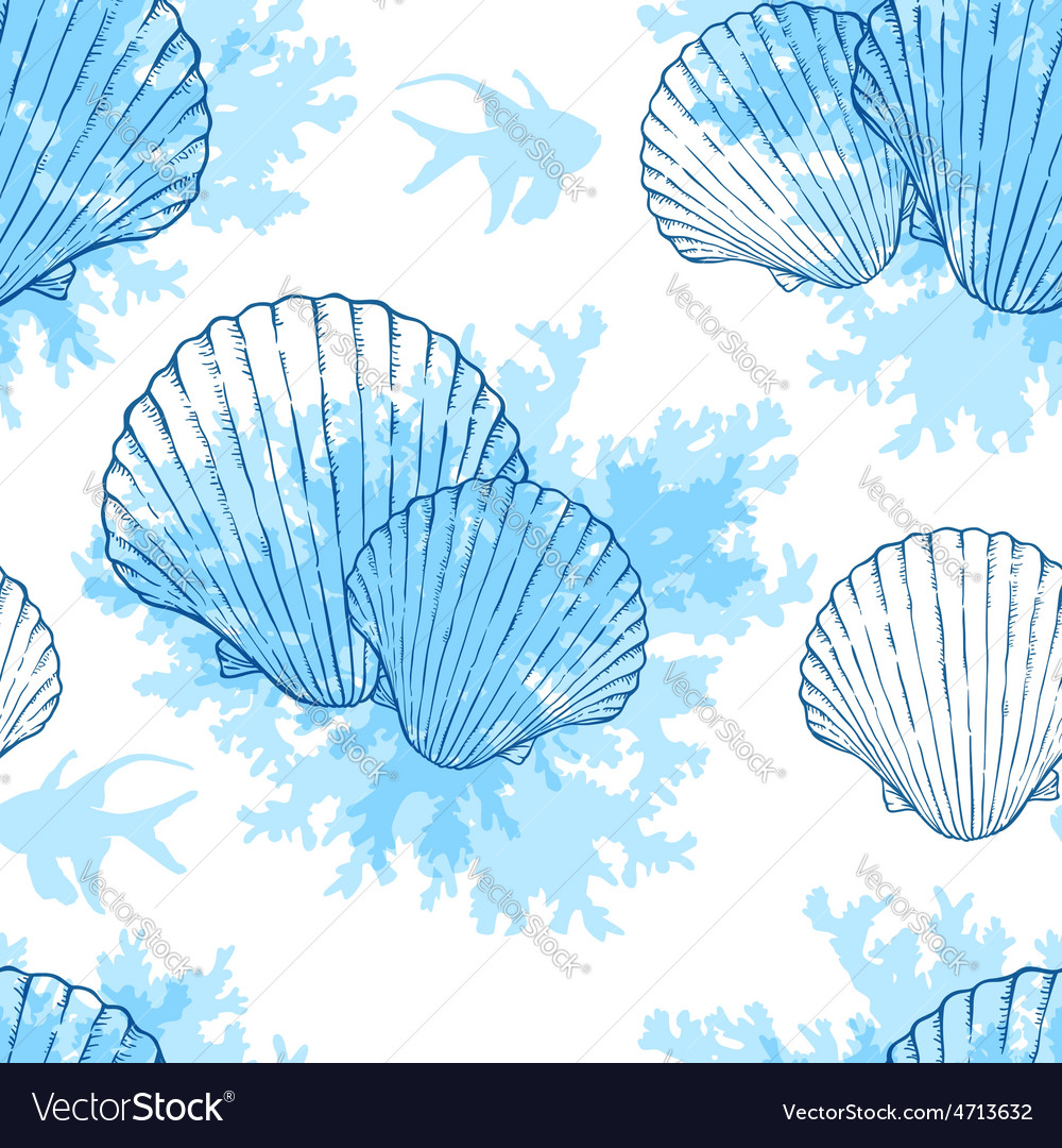 Blue shell pattern vector | Price: 1 Credit (USD $1)